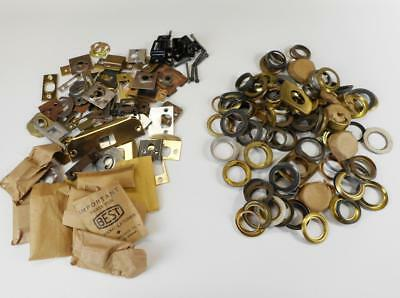Large Lot Vtg Mortise & Rim Lock Cylinder Trim Rings Back Plates Strike Plates