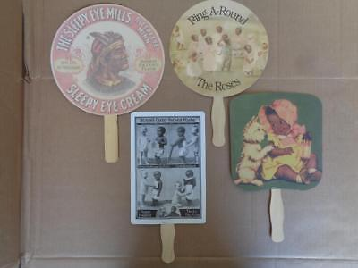 4 Black Americana Advertising Hand Fans Medicine Baking Flour Indian