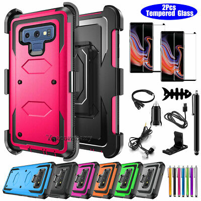 For Samsung Galaxy Note 9 8 Defender Black Phone Case Cover w/ Belt Clip Holster