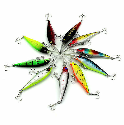 Lot 10pcs Kinds of Fishing Lures Crankbaits Hooks Minnow Baits Tackle New