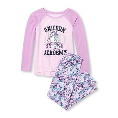 NWT The Childrens Place Unicorn Academy Girls Purple Long Sleeve Pajamas Set