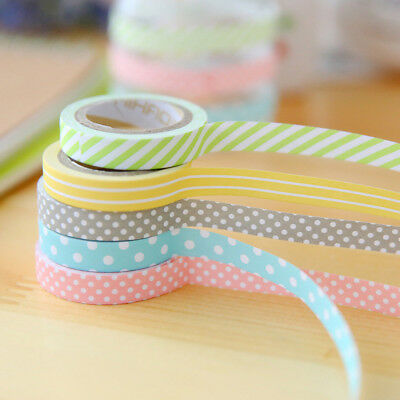 5 rolls colorful cute washi tape adhesive sticky paper masking tape crafts_S