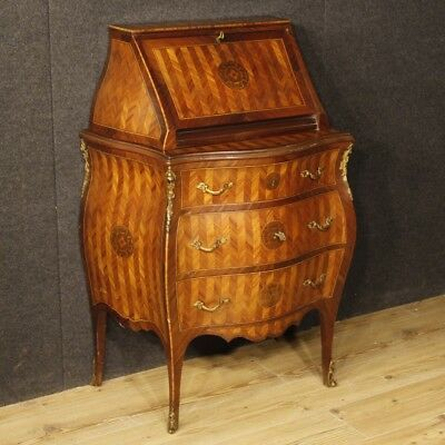 Bureau furniture secrétaire desk dresser Italian wood inlaid antique style