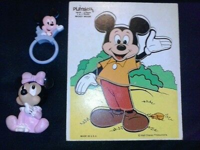 mickey & minnie mouse toy lot of 3 various ages & types squeek toy rattle puzzle