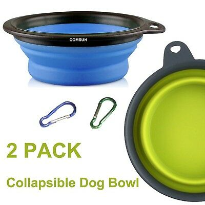 COMSUN 2-Pack Large Collapsible Dog Bowl, Foldable Expandable Cup Dish for Pe...