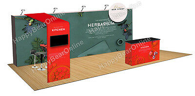Trade show fabric tension Quick pop-up booth 20 ft TV monitor Shelves supported