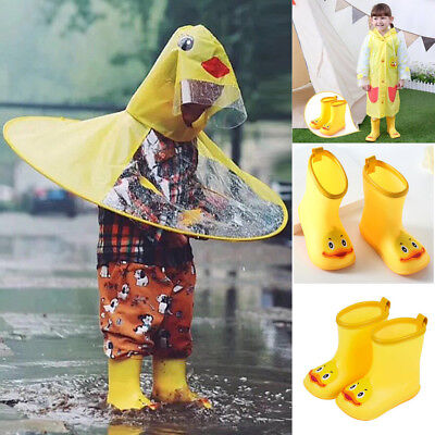 Infant Kids Children Baby Cartoon Duck Rubber Waterproof Warm Boots Rain Shoes