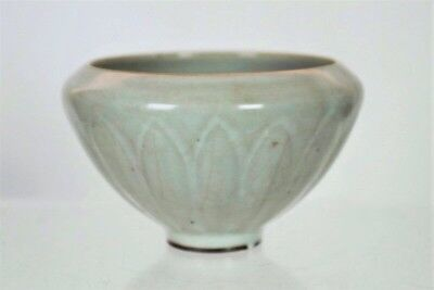 Chinese Qingbai Guan Crackle Carved Lotus Bowl Song Dynasty
