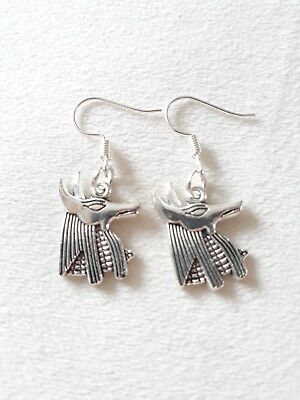 "Handmade Anubis (Egyptian Dog God)  pair of earrings (""antique silver"")"