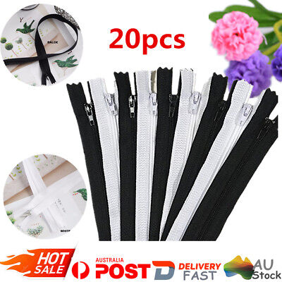 Nylon White/Black Colour Pack of 20pcs Zippers Closed End Sewer Sewing Craft DIY