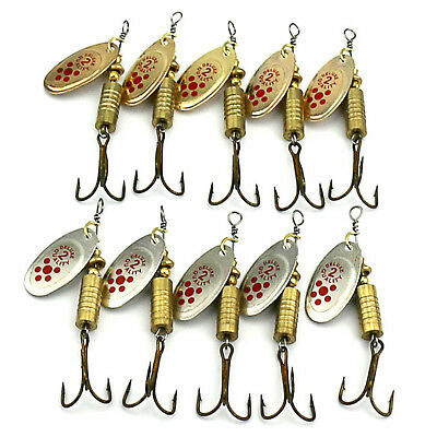 10pc Lot Metal Fishing Lures Spoons Lure Hard Bait Bass Fishing 6#Hook Tackle 6g