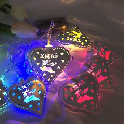 Hot Christmas LED String Light Metal Heart Curtain Lamp Party Wedding Decor