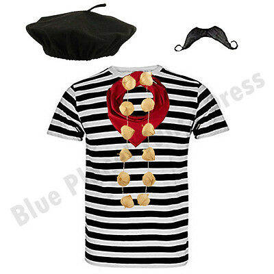 Deluxe Mens Complete French Man Stag Night Waiter Fancy Dress Costume Outfit Lot
