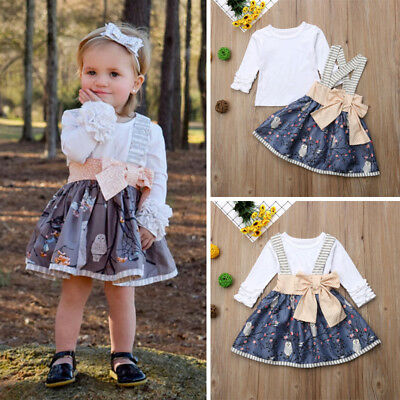 Fashion Newborn Kids Baby Girl Top T-shirt Suspender Skirt Dress Outfits Clothes