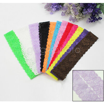 12 pcs Baby Kids Girls Cute Lovely Pretty Lace  Stretch Headbands Hair Band