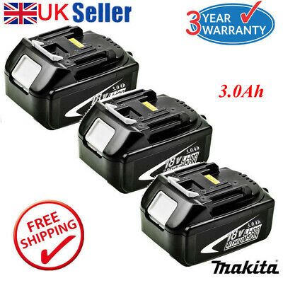 3 Pack For Makita BL1860 BL1830 LXT 18V 6.0Ah Lithium Ion Battery BL1840 BL1845
