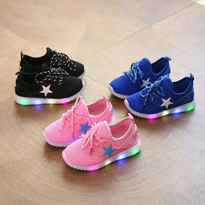 Unisex Children Boys Girls Kids LED Light Up Sneakers Baby Toddler Running Shoes