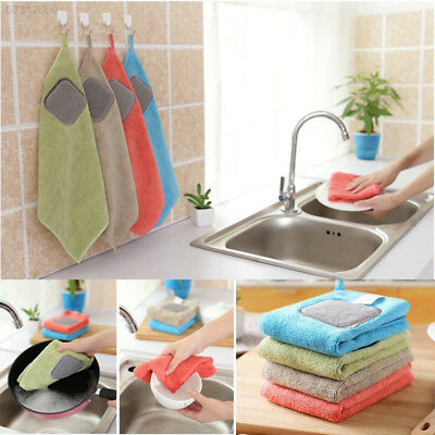 874F Hanging High Absorbent Microfiber Kitchen Wiping Rags Dish Towel Washing