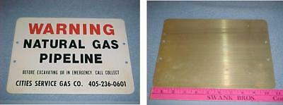 Cities Service Gas Co Painted Metal Sign Original Warning Pipeline Never Used