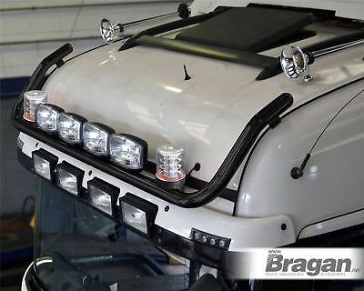 To Fit MAN TGA XXL Cab Front Roof Black Light Bar + Jumbo Spots + Clear Beacons