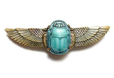 Beautiful Old Vintage / Antique Egyptian Revival Scarab Beetle Brooch Pin (B9)