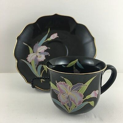 Black Orchid Cup And Saucer Gold Trim Otagiri Japan