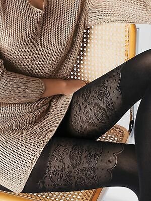 Fiore Patterned Tights 40 Denier Elizabeth Mock Suspender Stockings Tights New