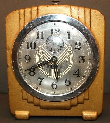 Vintage Art Deco Style Miracle Wind Up Alarm Clock  Working