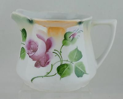 Antique Large Creamer Or Small Pitcher Hand Painted Rose Flower Pink Green Leaf
