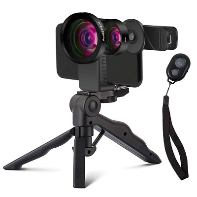 Cell Phone 0.45X Wide Angle + 15X Macro with Remote Shutter Multi-use Tripod NEW