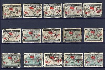 15x 1898 Used Xmas Map stamps F F/VF & VF CV= $150.00. Town & flag cancels
