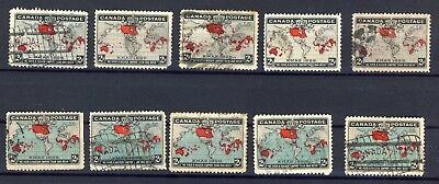 10x 1898 Used Xmas Map stamps  CV= $90.00. A few flag cancels