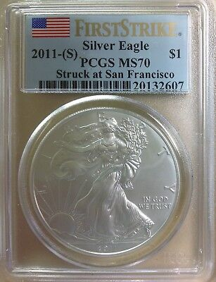 2011-(S) $1 (1oz) American Silver Eagle - PCGS MS70 First Strike