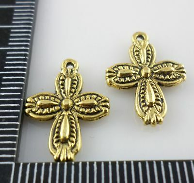 20pcs Ancient Gold cross Charms Pendants Crafts Beads 13x18mm
