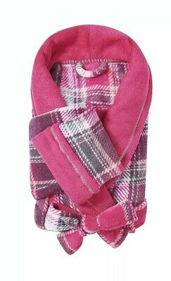 NEW Ulta Size L-XL Pink Plaid Bathrobe - Womens Plush Spa Robe LARGE/EXTRA LARGE