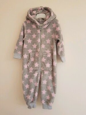 NEXT  Pink/ Grey Fleece All In One  Size 12-18 Months