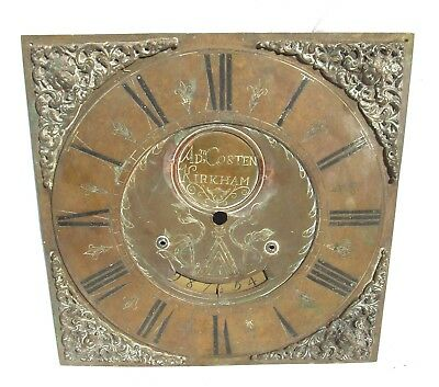 Early Single Finger Brass Longcase Grandfather Clock Dial ADAM COSTEN KIRKHAM