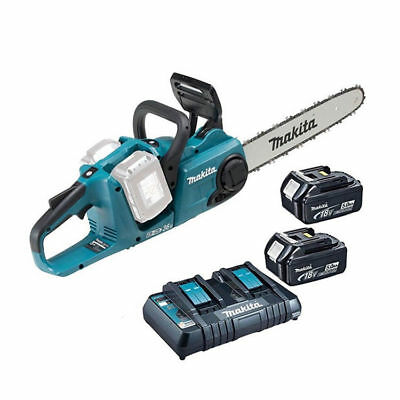 Makita DUC353Z 36v Twin 18v Cordless Chainsaw 2 18v BL1850 Batteries + Charger