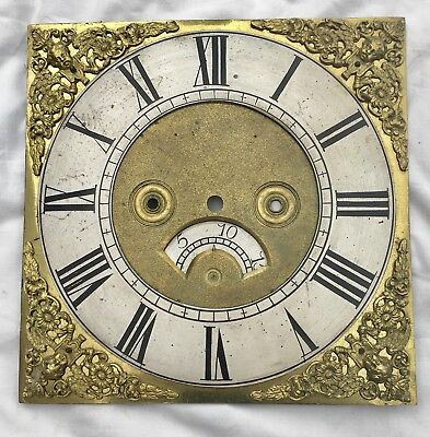 "Antique Brass Grandfather Longcase Clock Dial 10 "" By 10"""