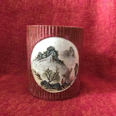 Chinese Republic Period Ruby Bamboo With Landscapes Brushpot
