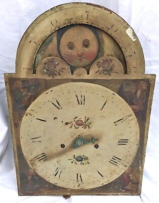 Lovely Antique Long Case Grandfather Clock Dial And Movement Rolling moon 30 hr