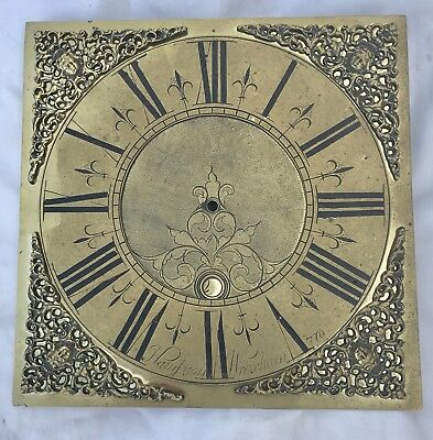"Antique Brass Grandfather Longcase Clock Dial Hampton Wrexham 10.25"" x 10.25"""