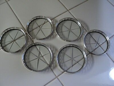 6 Sterling Silver & Glass Coasters
