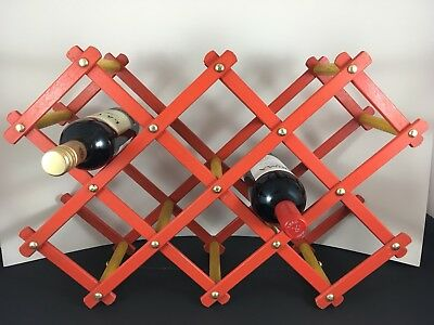 Vintage Retro Wooden Wine Rack w Metal Pins ~ Holds x8 Bottles ~ Red & Yellow