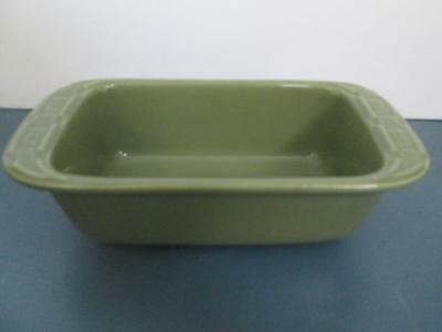"""Longaberger Pottery Woven Traditions Light Green Loaf Pan 8"""" X 4"""" X 2 1/2"""" Euc"""