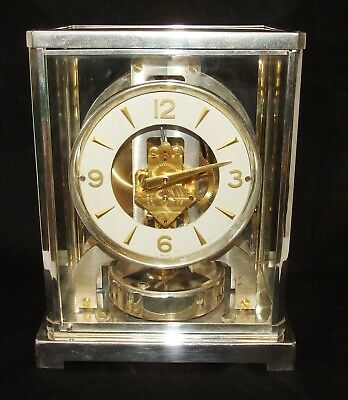 RARE Rhodium plated Atmos clock by Jaeger le Coultre 1960's No. 137200