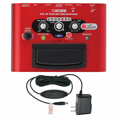 BOSS VE-2 Vocal Harmonist Multi‑Effects Pedal with Power Supply Bundle