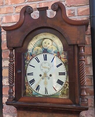 Antique Longcase Grandfather Clock 8 Day Rolling Moon Arched Dial
