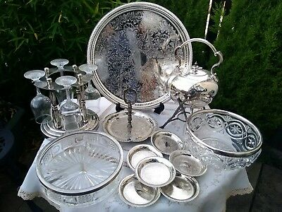 Antique Silver Plated Job Lot Tray Teapot Spirit Kettle Glass Vase Crystal Set