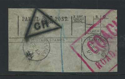 GB 1897 Parcel Post Receipt with Chatham CDS's + CH in Triangle & Coach Rd Borne